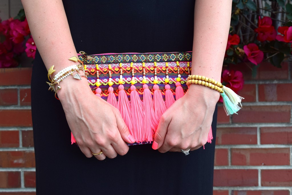 Bright Beaded and Tasseled Clutch
